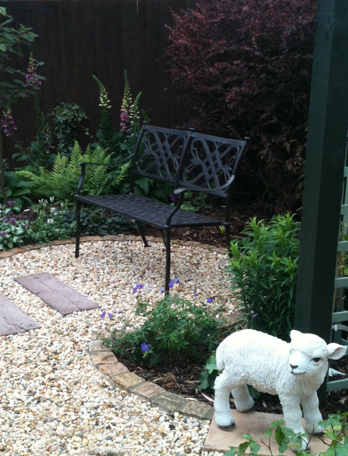 Sheep in finished garden